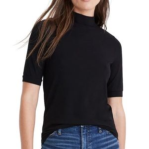 Madewell Black Drapey Mock Neck Top - M